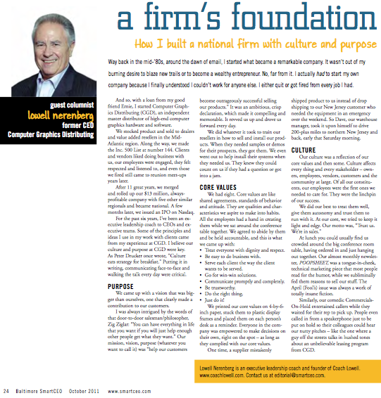 Read about Coach Lowell in Smart CEO Magazine